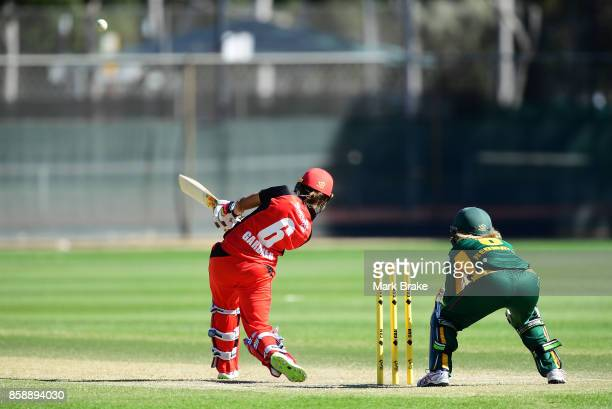 Ashleigh Gardner clears the boundary from a Courtney Webb delivery during the WNCL match between South Australia and Tasmania at Adelaide Oval No2 on...