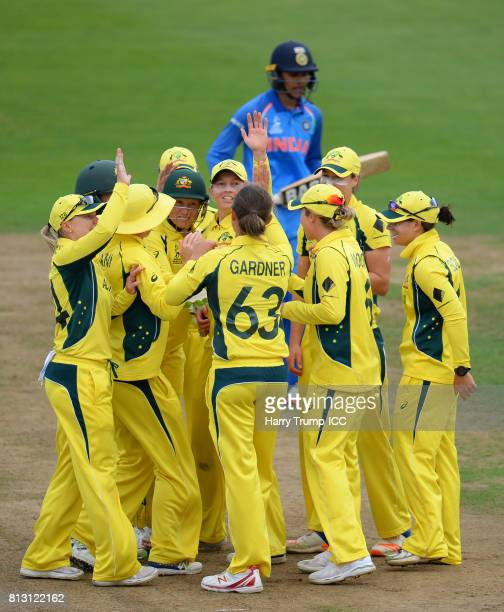 Ashleigh Gardner of Australia celebrates the wicket of Smriti Mandhana of India during the ICC Women's World Cup 2017 match between Australia and...