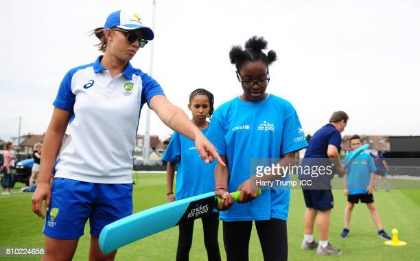 Ashleigh Gardner of Australia gives advice during the ICC Cricket for Good Australia event at the Brightside Ground on July 7 2017 in Bristol England