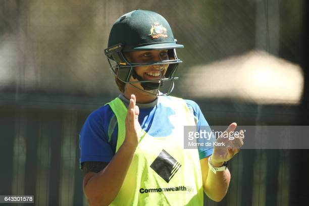 Ashleigh Gardner of Australia looks on during a Southern Stars training session at Adelaide Oval on February 21 2017 in Adelaide Australia