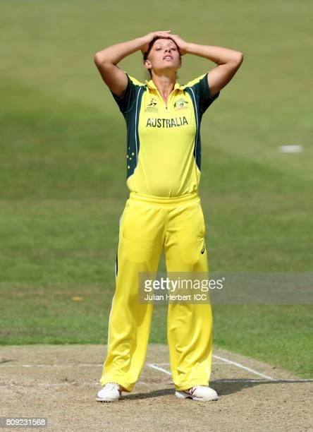 Ashleigh Gardner of Australia reacts as runs are score of her bowling during The ICC Women's World Cup 2017 match between Pakistan and Australia at...