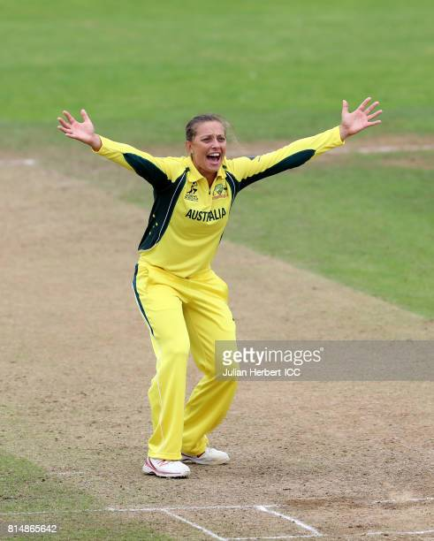 Ashleigh Gardner of Australiamakes an unsucsesful appeal during The ICC Women's World Cup 2017 match between South Africa and Australia at The County...