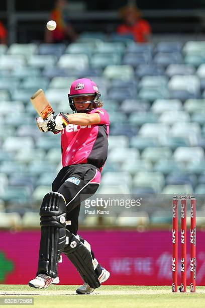 Ashleigh Gardner of the Sixers bats during the Women's Big Bash League match between the Perth Scorchers and the Sydney Sixers at WACA on January 28...