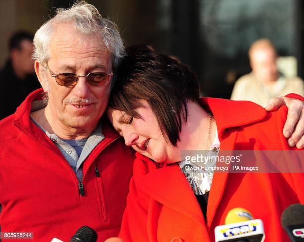 Ashleigh Hall's mother Andrea is comforted by the girl's grandfather Mike Hall outside Teesside Crown Court Middlesbrough following the conviction of...