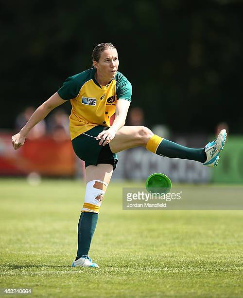 Ashleigh Hewson of Australia kicks a conversion during the IRB Women's Rugby World Cup Pool C match between Australia and Wales at the French Rugby...