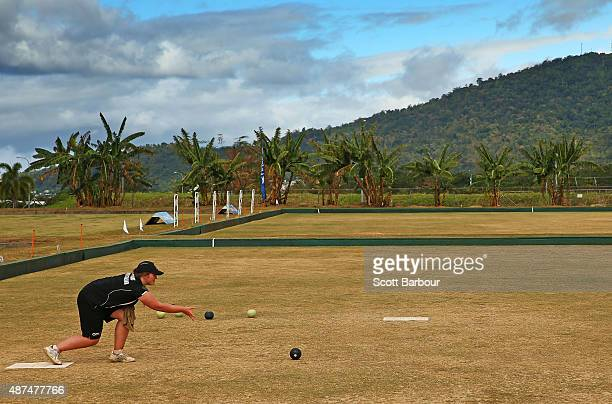 Ashleigh Jeffcoat of New Zealand bowls during the Mixed Pairs silver medal match at the Lawn Bowls at the Tuanaimato Sports Facility on day four of...