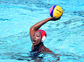 Ashleigh Johnson of the United States prepares to pass during the game against Australia during the 2016 Olympic team trials at the Uytengsu Aquatics...