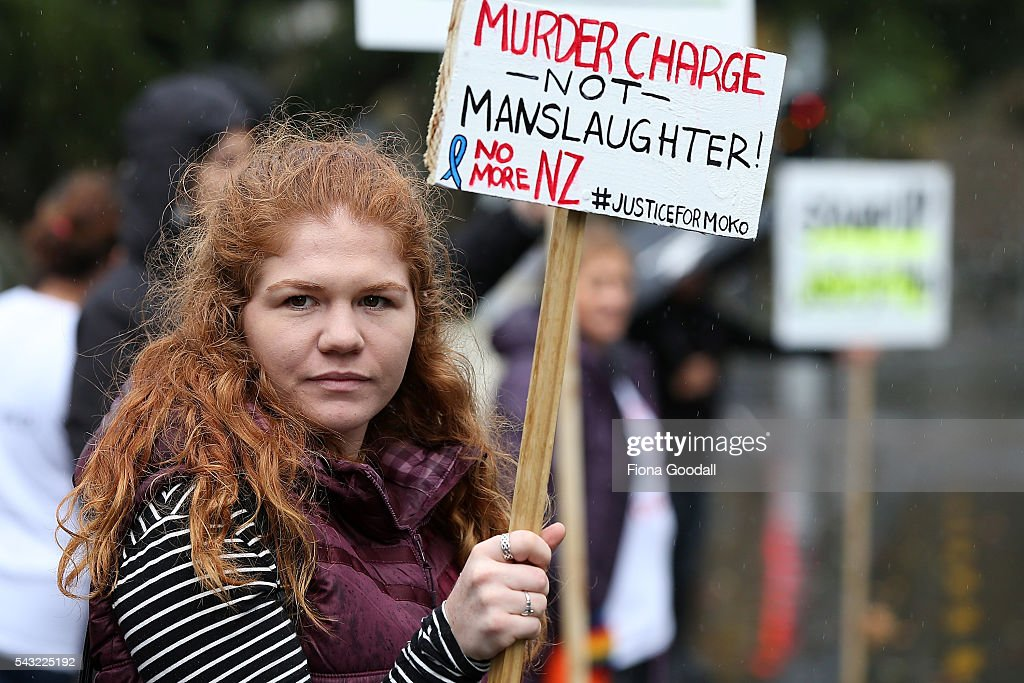 Ashleigh Lightfoot joins the protest outside Auckland High Court on June 27, 2016 in Auckland, New Zealand. Three year old toddler Moko Rangitoheriri died on August 10, 2015 from injuries he received during prolonged abuse and torture at the hands of his carers. His killers Tania Shailer and David Haerewa were sentenced at Rotorua High Court today.