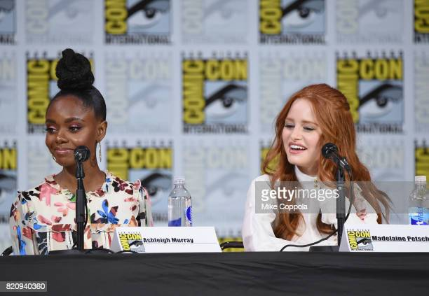 Ashleigh Murray and Madelaine Petsch attend 'Riverdale' special video presentation and QA during ComicCon International 2017 at San Diego Convention...