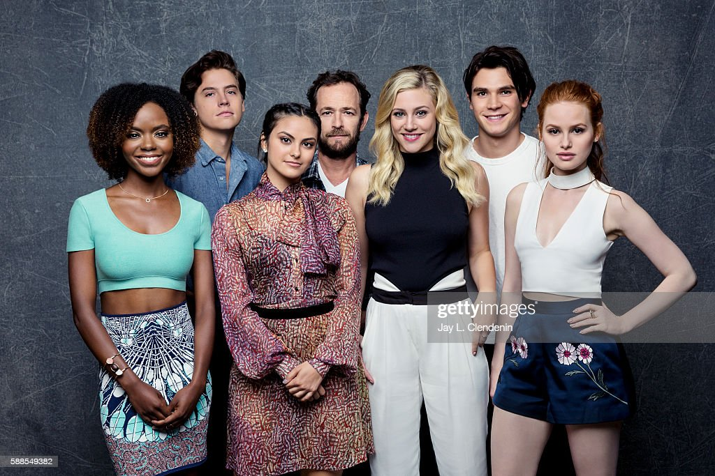 Ashleigh Murray, Cole Sprouse, Camilia Mendes, Luke Perry, Lili Reinhart, KJ Apa, and Madelaine Petsch of ' Riverdale' are photographed for Los Angeles Times at San Diego Comic Con on July 22, 2016 in San Diego, California.