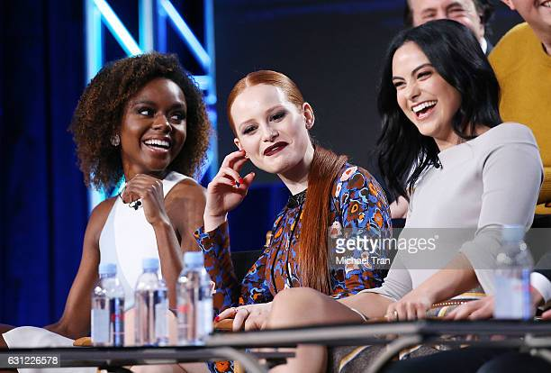 Ashleigh Murray Madelaine Petsch and Camila Mendes for the 'Riverdale' television show speak onstage during the 2017 Winter TCA Tour Panels CW held...