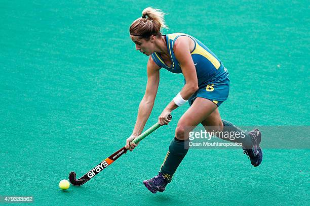 Ashleigh Nelson of Australia in action during the Fintro Hockey World League SemiFinal match between Netherlands and Australia held at KHC Dragons...