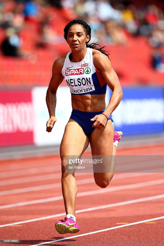 Ashleigh Nelson of Great Britain and Northern Ireland competes in the Women's 100 metres heats during day one of the 22nd European Athletics Championships at Stadium Letzigrund on August 12, 2014 in Zurich, Switzerland.