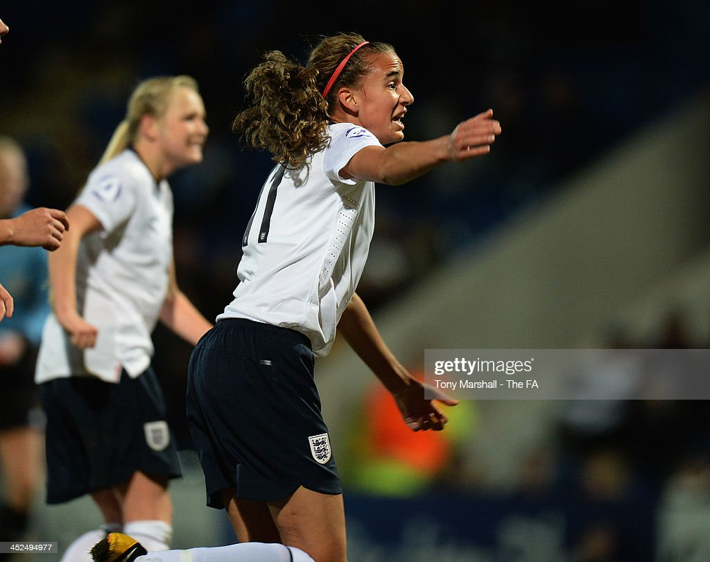 Ashleigh Plumptre of England celebrates scoring their first goal during the UEFA Womens U17 Championship Finals match between England and Austria at Chesterfield FC Stadium on November 29, 2013 in Chesterfield, England.
