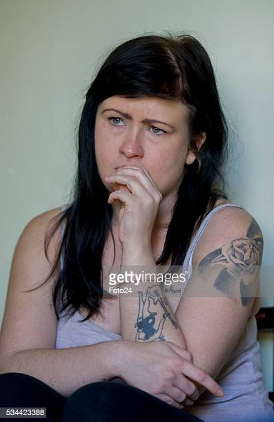 Ashleigh Schultz the Obz Café waitress who fell victim to alleged racism by a customer gestures during an interview on May 07 2016 in Cape Town South...