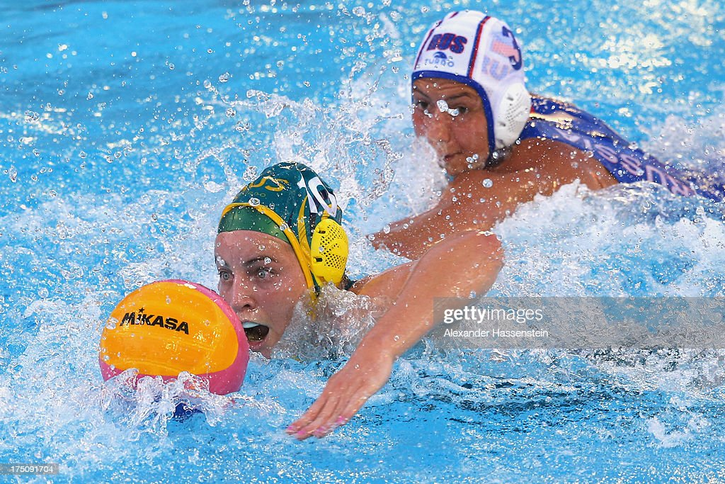 <a gi-track='captionPersonalityLinkClicked' href=/galleries/search?phrase=Ashleigh+Southern&family=editorial&specificpeople=5666203 ng-click='$event.stopPropagation()'>Ashleigh Southern</a> (L) of Australia in action against <a gi-track='captionPersonalityLinkClicked' href=/galleries/search?phrase=Ekaterina+Prokofyeva&family=editorial&specificpeople=5486679 ng-click='$event.stopPropagation()'>Ekaterina Prokofyeva</a> of Russia during the Women's Water Polo Semifinal Round between Russia and Australia during day twelve of the 15th FINA World Championships at Piscines Bernat Picornell on July 31, 2013 in Barcelona, Spain.