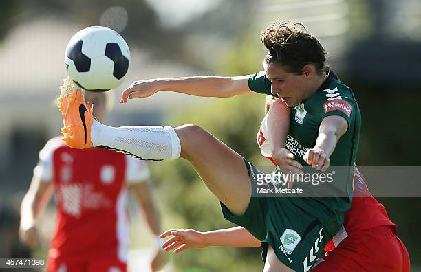 Ashleigh Sykes of Canberra attempts to control the ball during the round six WLeague match between Canberra and Adelaide at McKellar Park on October...