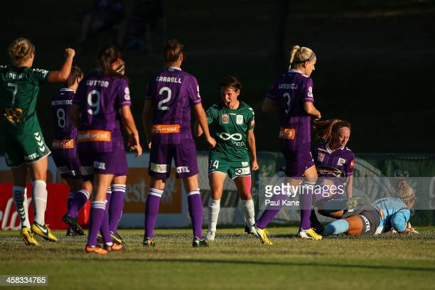 Ashleigh Sykes of Canberra celebrates a goal during the round six WLeague match between the Perth Glory and Canberra United at Percy Doyle Reserve on...