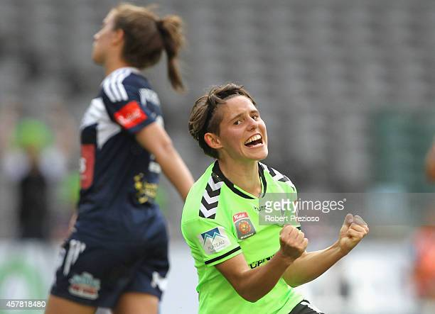 Ashleigh Sykes of Canberra celebrates after scoring a goal during the round seven WLeague match between Melbourne and Canberra at Etihad Stadium on...