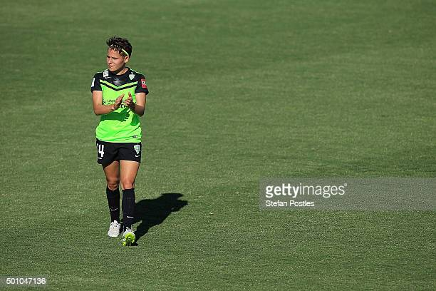 Ashleigh Sykes of Canberra United acknowledges the crowd during the round nine WLeague match between Canberra United and Adelaide United at McKellar...