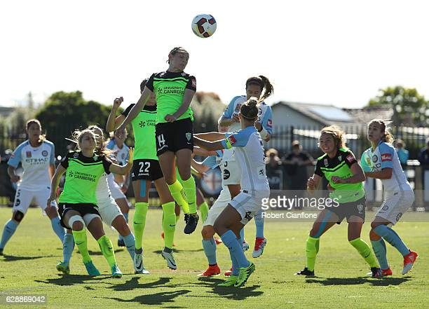 Ashleigh Sykes of Canberra United atempts a shot on goal during the round six WLeague match between Melbourne City FC and Canberra Unitred at CB...