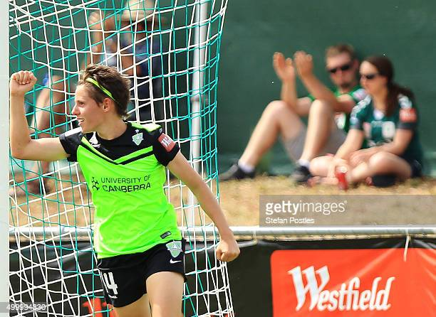 Ashleigh Sykes of Canberra United celebrates after scoring a goal during the round eight WLeague match between Canberra United and the Brisbane Roar...
