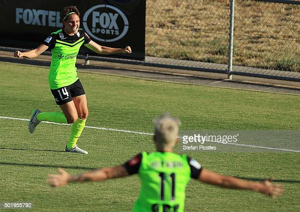Ashleigh Sykes of Canberra United celebrates after scoring a goal during the round 10 WLeague match between Canberra United and Melbourne Victory at...