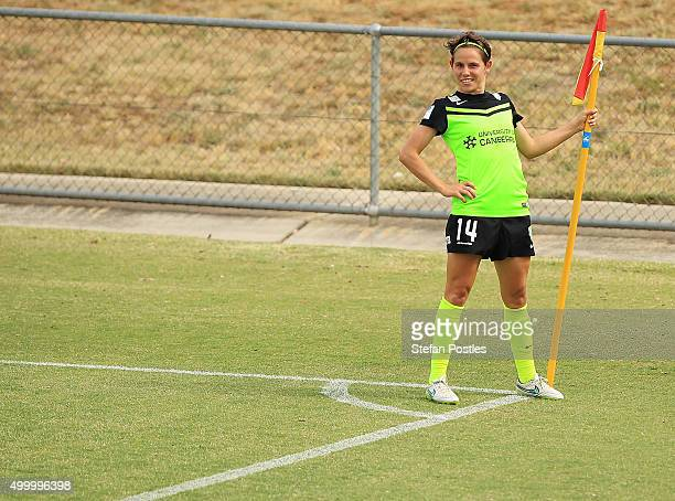 Ashleigh Sykes of Canberra United celebrates after scoring her second goal during the round eight WLeague match between Canberra United and the...