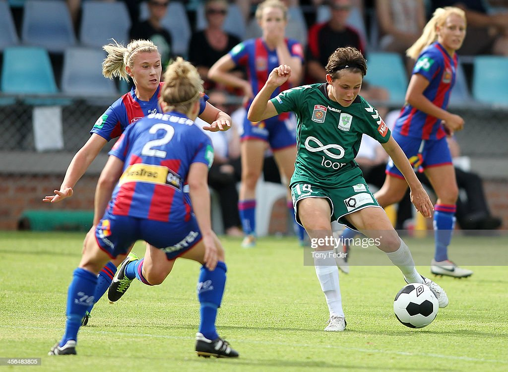 Ashleigh Sykes of Canberra United controls the ball during the round five W-League match between the Newcastle Jets and Canberra United at Wanderers Oval on December 14, 2013 in Newcastle, Australia.