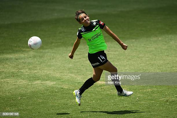 Ashleigh Sykes of Canberra United heads the ball during the WLeague semi final match between Canberra United and Sydney FC at McKellar Park on...