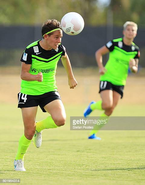 Ashleigh Sykes of Canberra United in action during the round 10 WLeague match between Canberra United and Melbourne Victory at McKellar Park on...