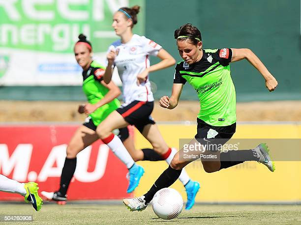 Ashleigh Sykes of Canberra United in action during the round 13 WLeague match between Canberra United and the Western Sydney Wanderers at McKellar...