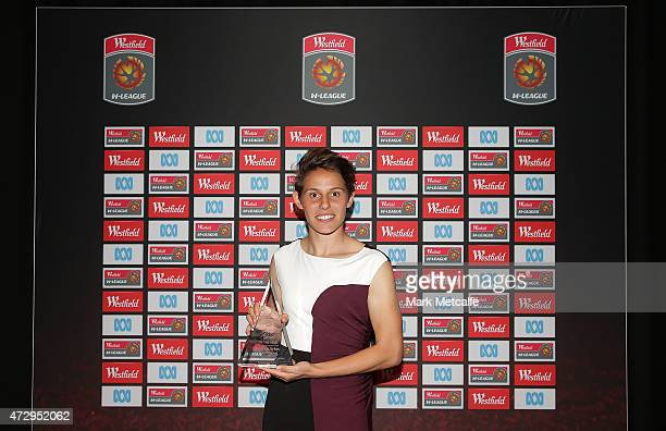 Ashleigh Sykes of Canberra United poses with the WLeague Goal of the Year award during the ALeague WLeague 2014/15 Awards Night at Carriageworks on...