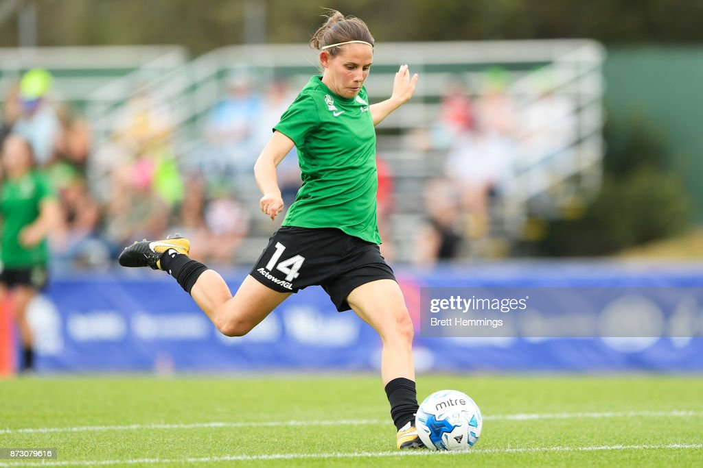 Ashleigh Sykes of Canberra warms up prior to the round three W-League match between Canberra United and Sydney FC at McKellar Park on November 12, 2017 in Canberra, Australia.
