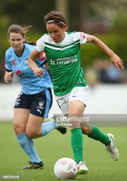 Ashleigh Sykes of United runs the ball forward during the round six WLeague match between Sydney FC and Canberra United at Lambert Park on November...