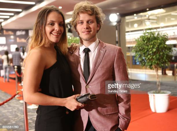 Ashleigh van Rensburg and Garion Dowds pose on the red carpet during the South African Film and Television Awards at Sun City on March 18 2017 in...