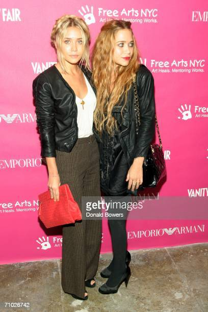 Ashley and MaryKate Olsen arrive at the 7th annual Free Arts NYC Art Photography benefit auction at Phillips de Pury May 23 2006 in New York City