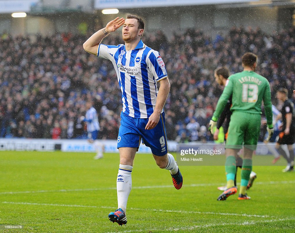 Ashley Barnes of Brighton celebrates after scoring during the npower Championship match between Brighton & Hove Albion and Derby County at Amex Stadium on January 12, 2013 in Brighton, England.