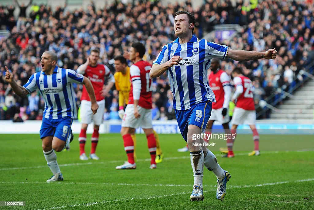 Ashley Barnes of Brighton & Hove Albion (9) celebrates as he scores their first goal during the FA Cup with Budweiser Fourth Round match between Brighton & Hove Albion and Arsenal at Amex Stadium on January 26, 2013 in Brighton, England.
