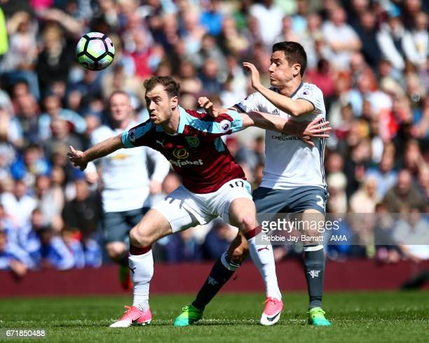 Ashley Barnes of Burnley and Andre Herrera of Manchester United during the Premier League match between Burnley and Manchester United at Turf Moor on...