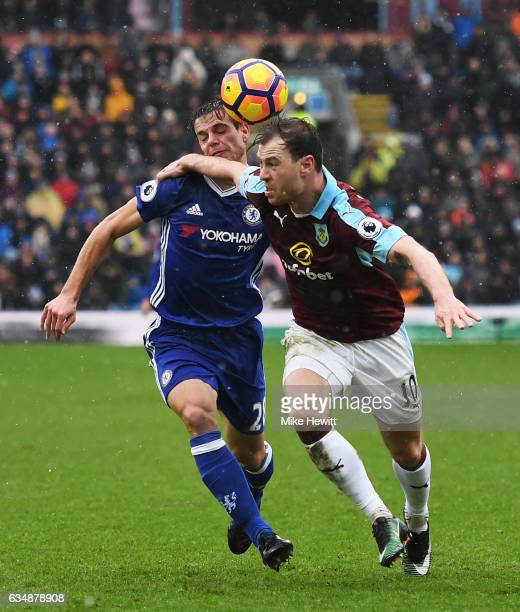 Ashley Barnes of Burnley and Cesar Azpilicueta of Chelsea in action during the Premier League match between Burnley and Chelsea at Turf Moor on...