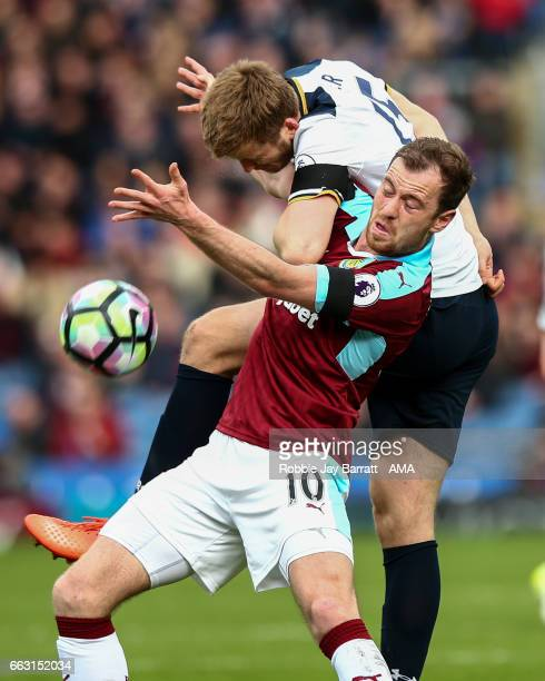 Ashley Barnes of Burnley and Eric Dier of Tottenham Hotspur during the Premier League match between Burnley and Tottenham Hotspur at Turf Moor on...