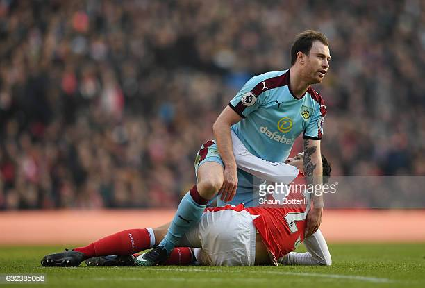 Ashley Barnes of Burnley and Granit Xhaka of Arsenal are seen during the Premier League match between Arsenal and Burnley at the Emirates Stadium on...