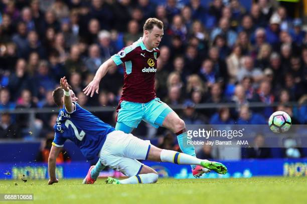 Ashley Barnes of Burnley and Morgan Schneiderlin of Everton during the Premier League match between Everton and Burnley at Goodison Park on April 15...