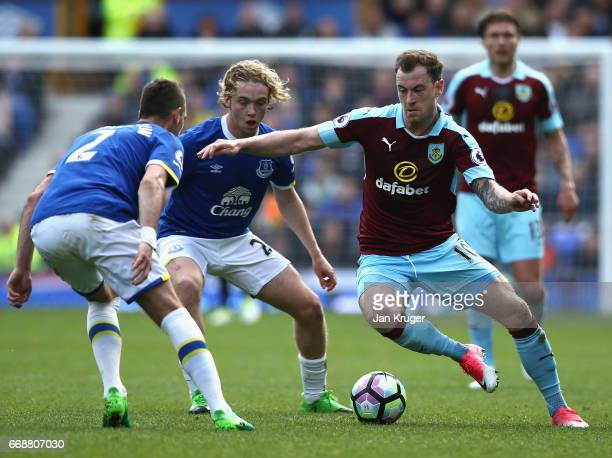 Ashley Barnes of Burnley attempts to get past Morgan Schneiderlin of Everton during the Premier League match between Everton and Burnley at Goodison...