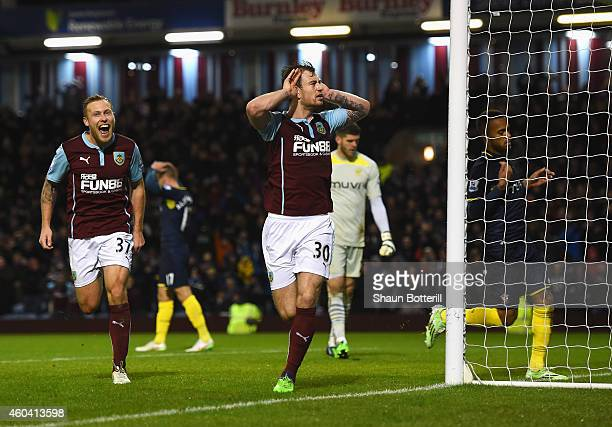 Ashley Barnes of Burnley celebrates his goal during the Barclays Premier League match between Burnley and Southampton at Turf Moor on December 13...