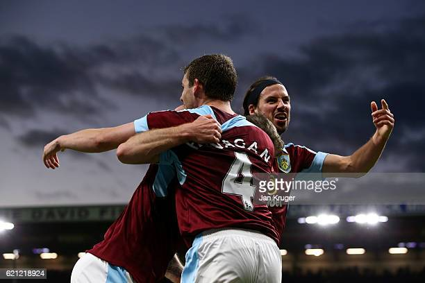 Ashley Barnes of Burnley celebrates scoring his sides third goal with Jon Flanagan of Burnley and George Boyd of Burnley during the Premier League...