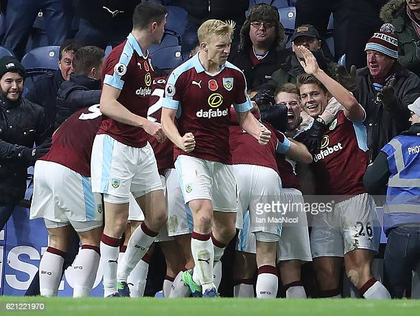 Ashley Barnes of Burnley celebrates scoring his teams winning goal during the Premier League match between Burnley and Crystal Palace at Turf Moor on...