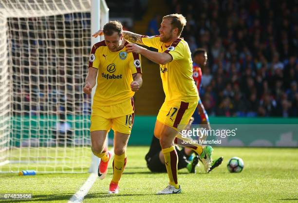 Ashley Barnes of Burnley celebrates scoring the opening goal with Scott Arfield during the Premier League match between Crystal Palace and Burnley at...