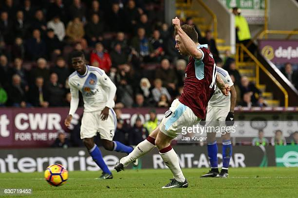 Ashley Barnes of Burnley converts the penalty to score his side's fourth goal during the Premier League match between Burnley and Sunderland at Turf...
